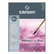 Альбом для акварели Canson Moulin du Roy 300г/кв.м (хлопок) 24*32см 12листов Сатин склейка по короткой стороне