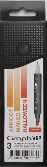 Набор маркеров Graph-It 3 штуки Vitamin (оттенки оранжевого) в пластиковой упаковке
