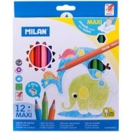 """Карандаши Milan """"241 Maxi"""", 12цв., заточен., картон, европодвес, с точилкой"""