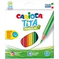 """Карандаши пластиковые Carioca """"Tita"""", 24цв., трехгран., заточен., картон, европодвес"""