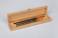 Набор кистей Roubloff №6 колонок круглые 3 штуки в деревянной шкатулке