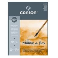 Альбом для акварели Canson Moulin du Roy 300г/кв.м (хлопок) 30*40см 12листов Торшон склейка по короткой стороне