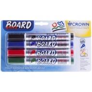 "Набор маркеров для белых досок Crown ""Multi Board"" 4цв., пулевидный, 3мм, блистер"