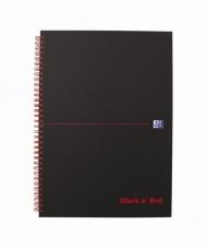 Блокнот Oxford Black n Red A4 cardboard клетка 70л двойная спираль твердая обложка