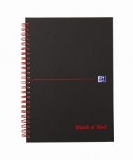 Блокнот Oxford Black n Red A5 клетка 70л двойная спираль твердая обложка