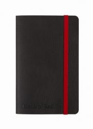 Блокнот Oxford Black n Red A6 72л фиксирующая резинка карман мягкая обложка