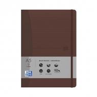 Блокнот Oxford Office Signature A5 клетка 72л фиксирующаяся резинка карман твердая обложка коричневый