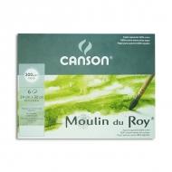 Бумага для акварели Canson Moulin du Roy в папке, Fin, 300 г/м2, 100% хлопок, 24х32 см, 6 листов