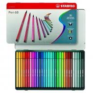 Набор фломастеров Stabilo Pen 68, 30 цветов, металлический футляр