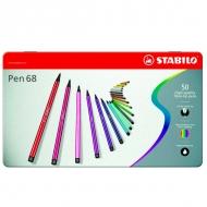Набор фломастеров Stabilo Pen 68, 50 цветов, металлический футляр