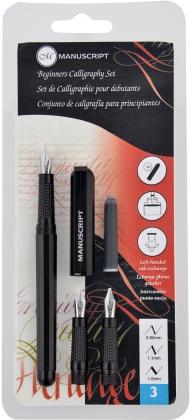 Набор для каллиграфии Manuscript Beginner 3 для левшей (ручка, 2 картриджа и 3 пера) в блистере