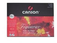 Альбом для масла Canson Figueras 290г/кв.м 41*33см 10листов Зерно холста склейка по короткой стороне