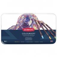 Набор цветных карандашей Derwent Coloursoft 36 цветов, металлический пенал