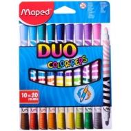 """Фломастеры двусторонние Maped """"Duo"""", 20цв., 10шт., двуцветные, трехгран., смываемые, картон, европ."""