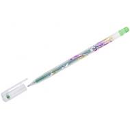 """Ручка гелевая Crown """"Glitter Metal Jell"""" светло-зеленая с блестками, 0,8мм"""