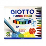 Цветные фломастеры GIOTTO Turbo Maxi FILA для рисования, набор 12 цветов, круглый нак. 5мм