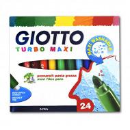 Цветные фломастеры GIOTTO Turbo Maxi FILA для рисования, набор 24 цвета, круглый нак. 5 мм