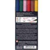 Набор акварельных маркеров с кистью Sakura Koi, 6 пастельных цветов