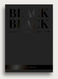 Альбом Fabriano Black Black черная бумага, 42x59,4см, 300г/кв.м, склейка по короткой стороне, 20л