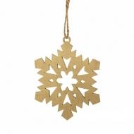 """Елочное украшение """"Снежинка"""", дерево, цвет золото, диаметр 9 см"""