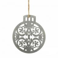 "Елочное украшение ""Шар"", дерево, цвет серебро, диаметр 10 см"