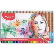 Карандаши акварельные Maped 36 цветов+кисть, металлический пенал