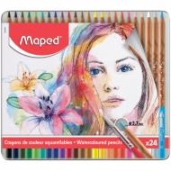 Карандаши акварельные Maped 24 цветов+кисть, металлический пенал