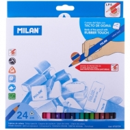 "Карандаши Milan ""235"", 24цв., Rubber Touch, трехгран., заточен., картон, европодвес"