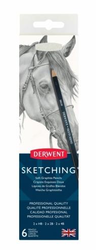 Набор чернографитных карандашей Derwent Sketching 6 штук+точилка, мет.пенал
