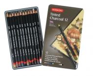 Набор угольных карандашей Derwent Tinted Charcoal 12шт, металлический пенал
