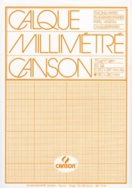 Калька Canson миллиметровая 70г/кв.м 21*29.7см Оранжевая 50 листов в упаковке