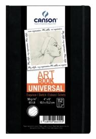 Блокнот для зарисовок Canson Universal 96г/кв.м 10.2*15.2см 112листов твердая обложка застежка-резинка черный