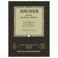 Блок для графики Arches Extra Blanс 180г/кв.м 23*31см 16листов Мелкое зерно склейка по 1 стороне