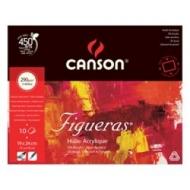 Блок для масла Canson Figueras 290г/кв.м 24*19см 10листов Зерно холста склейка по 4 сторонам