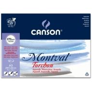 Альбом для акварели Canson Montval 270г/кв.м (целлюлоза) 29.7*42см 12листов Снежное зерно склейка по короткой стороне