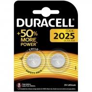 Батарейка Duracell CR2025 3V литиевая, 2BL (2шт. упаковка)