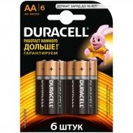 Батарейка Duracell Basic AA (LR06) алкалиновая, 6BL (6шт. упаковка)