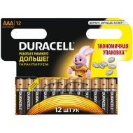 Батарейка Duracell Basic AAA (LR03) алкалиновая, 12BL (12шт. упаковка)