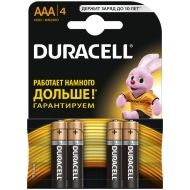 Батарейка Duracell Basic AAA (LR03) алкалиновая, 4BL (4шт. упаковка)