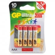 "Батарейка GP Ultra AAA (LR03) 24AU ""Подари Жизнь"" алкалиновая, BC4 (4шт. упаковка)"
