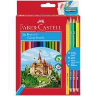 """Карандаши Faber-Castell """"Замок"""", 42цв., 36+3+1шт., заточен., картон, европодвес, с точилкой"""