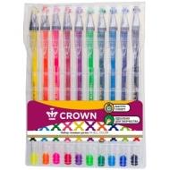 """Набор гелевых ручек Crown """"Hi-Jell Color"""" 10шт., 10цв., 0,5мм, ПВХ уп., европодвес"""