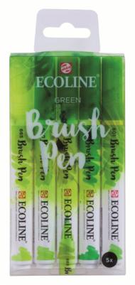 Набор акварельных маркеров Royal Talens Ecoline Brush Pen Зеленые 5 штук в пластиковой упаковке