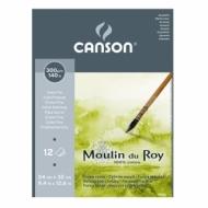 Альбом для акварели Canson Moulin du Roy 300г/кв.м (хлопок) 24*32см 12листов Фин склейка по короткой стороне