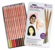 Набор акварельных карандашей Derwent Academy 12 цветов, оттенки кожи, металлический пенал