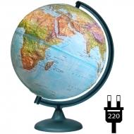 Глобус физико-политический рельефный Глобусный мир, 32см, с подсветкой, на круглой подставке