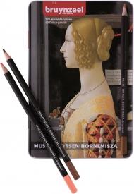 Набор цветных карандашей Bruynzeel Thyssen 'Портрет Джованны Торнабуони' 12 цветов в металлической упаковке