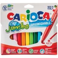 """Фломастеры Carioca """"Jumbo"""", 12цв., утолщенные, смываемые, картон, европодвес"""