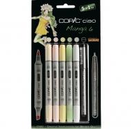 "Набор маркеров с кистью Copic Ciao ""Manga 6"", 5 цветов + линер 0.3 мм"