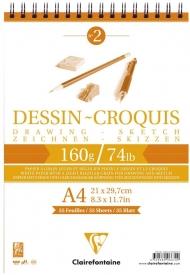 "Блокнот для эскизов Clairefontaine ""Dessin croquis"", А4, 160 г/м2, на гребне, 35 л."